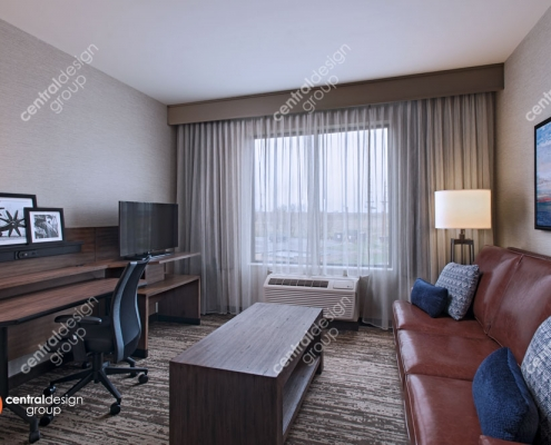 Interior Design of a Hotel Room with Leather Couch