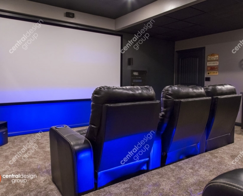 Custom Home Theater Room with Big Screen