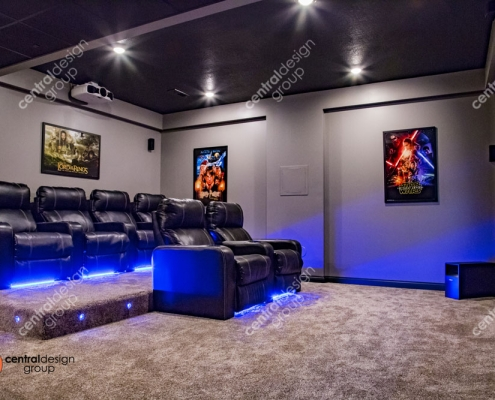 Custom Home Theater Room with Comfortable Seats