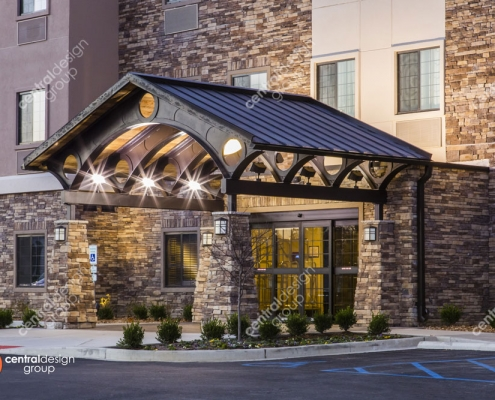 Hotel Design with Pretty Landscaping