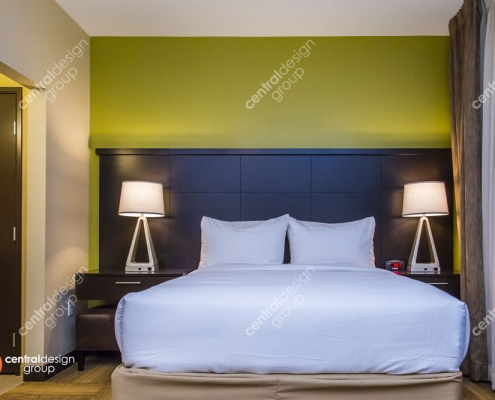 Hotel Interior Design with Green Accent Wall