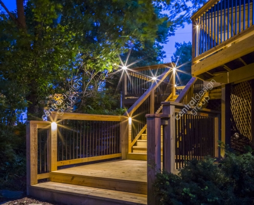Custom Home Patio Design with Lights