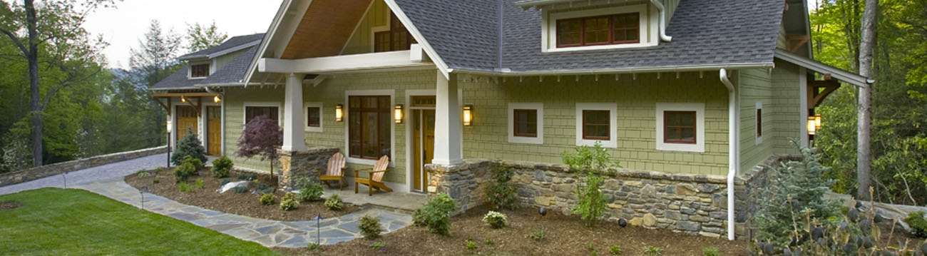 Custom Home Design with Stone Side Walk